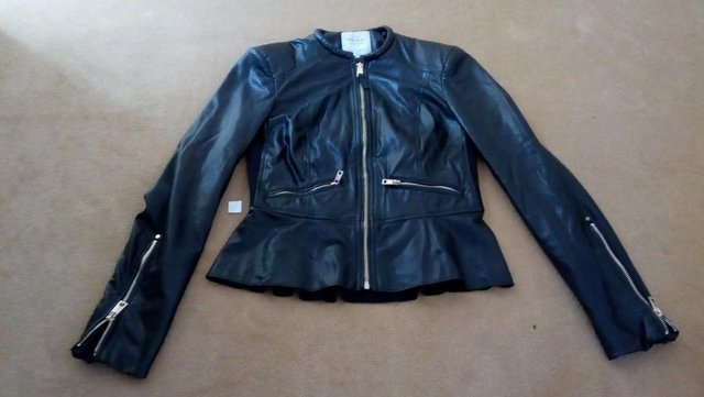 Preview of the first image of FREE P&P Zara faux leather biker jacket size S.