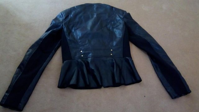 Image 2 of FREE P&P Zara faux leather biker jacket size S