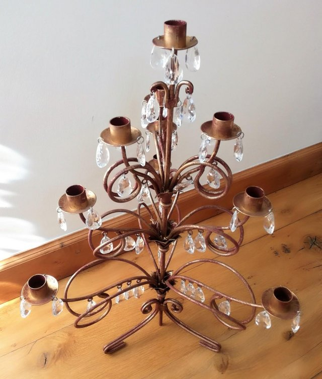 Preview of the first image of CHRISTMAS TREE CANDELABRA Candle Holder Red Gold Large.