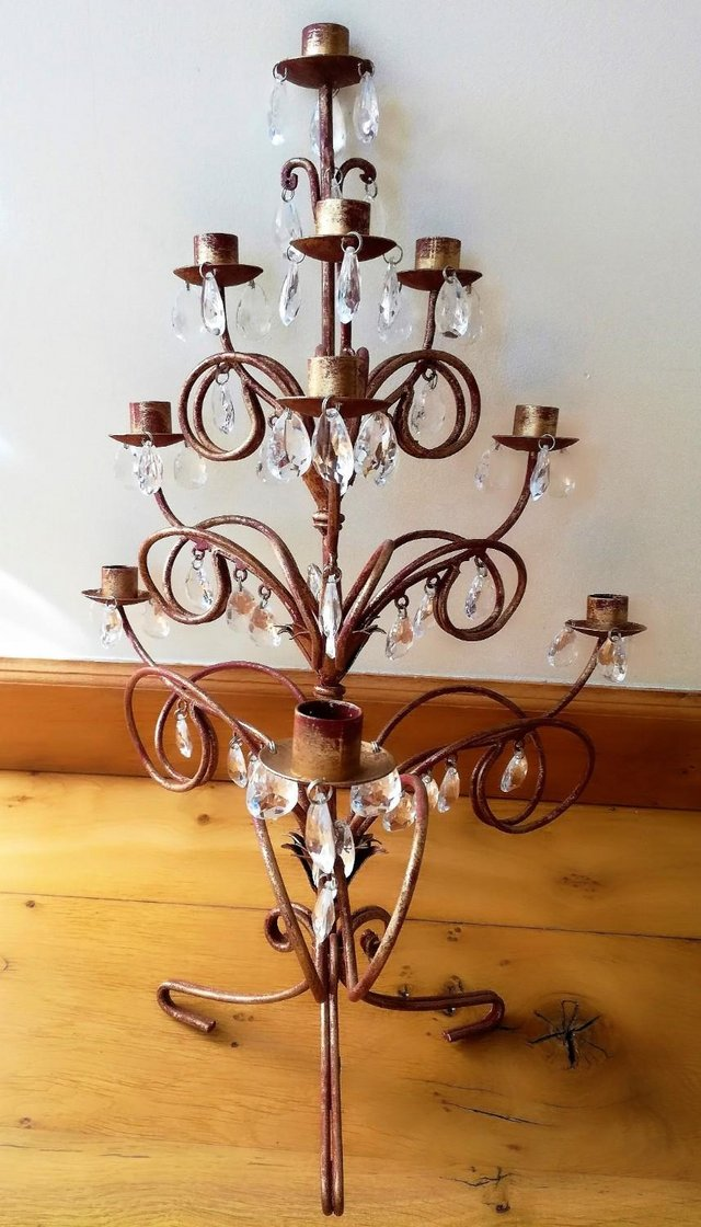 Image 2 of CHRISTMAS TREE CANDELABRA Candle Holder Red Gold Large