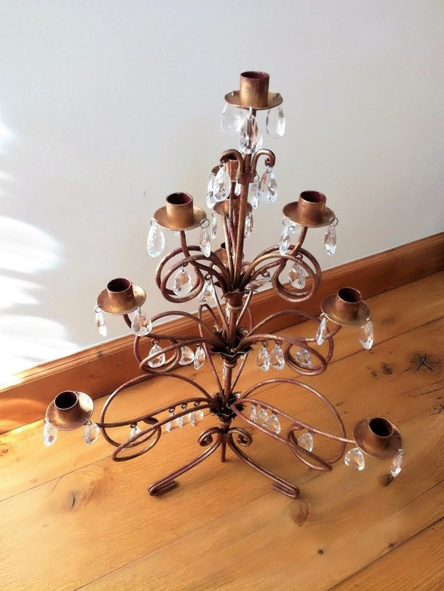 Image 3 of CHRISTMAS TREE CANDELABRA Candle Holder Red Gold Large