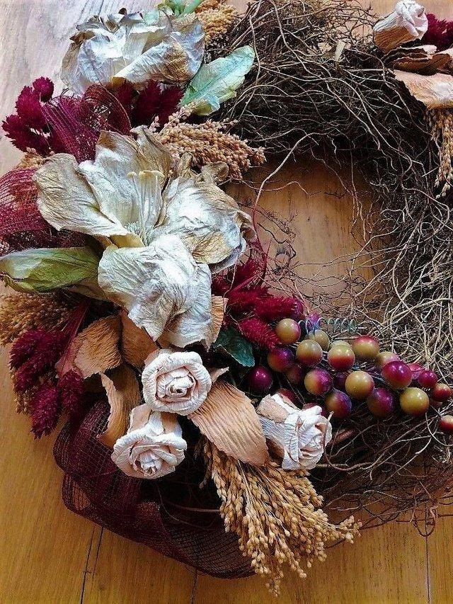 Preview of the first image of CHRISTMAS Contemporary Wreath Red Berries Twig Gold Natural.