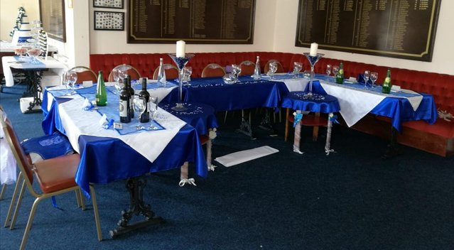 Image 2 of Blue Satin Tablecloths & Voile Table Runners