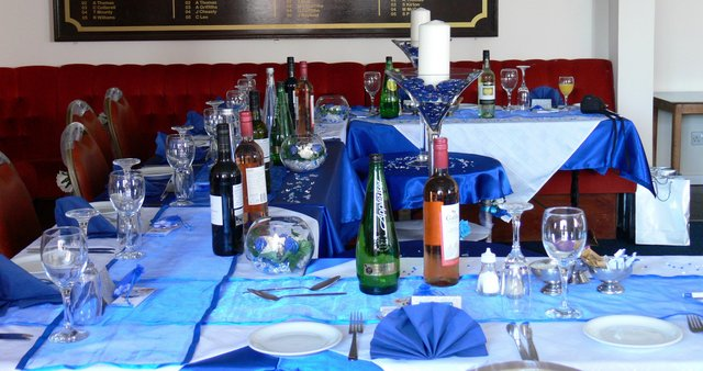 Image 3 of Blue Satin Tablecloths & Voile Table Runners