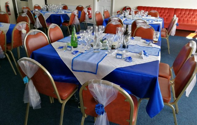 Preview of the first image of Blue Satin Tablecloths & Voile Table Runners.
