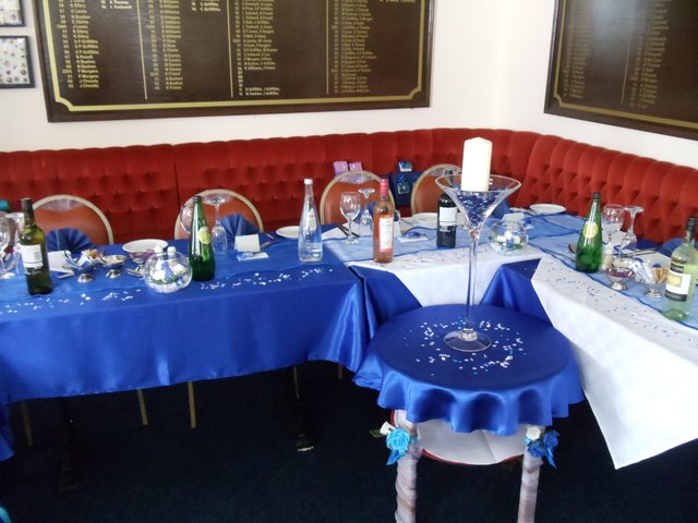 Image 4 of Blue Satin Tablecloths & Voile Table Runners