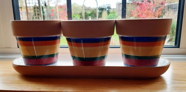 Preview of the first image of COLOURFUL PLANT POT SET ideal for window sill.