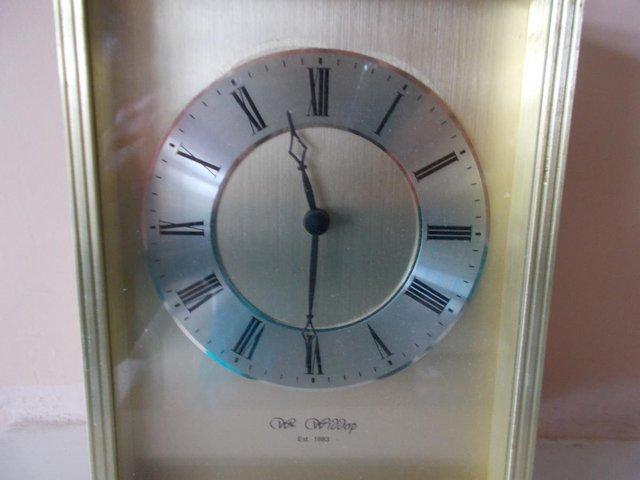 Image 3 of Wm Widdop carriage clock in gold effect