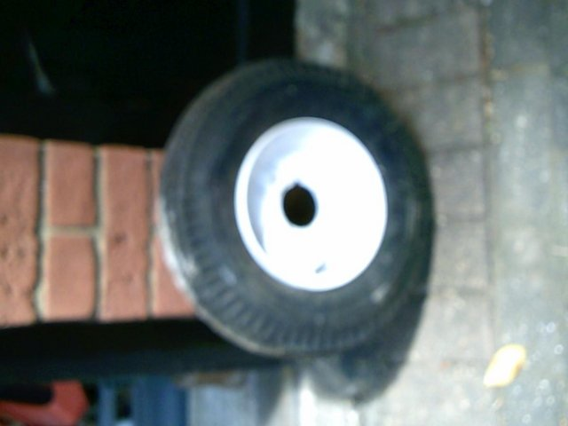 """Preview of the first image of Three trailer Wheels 8"""" New tires."""