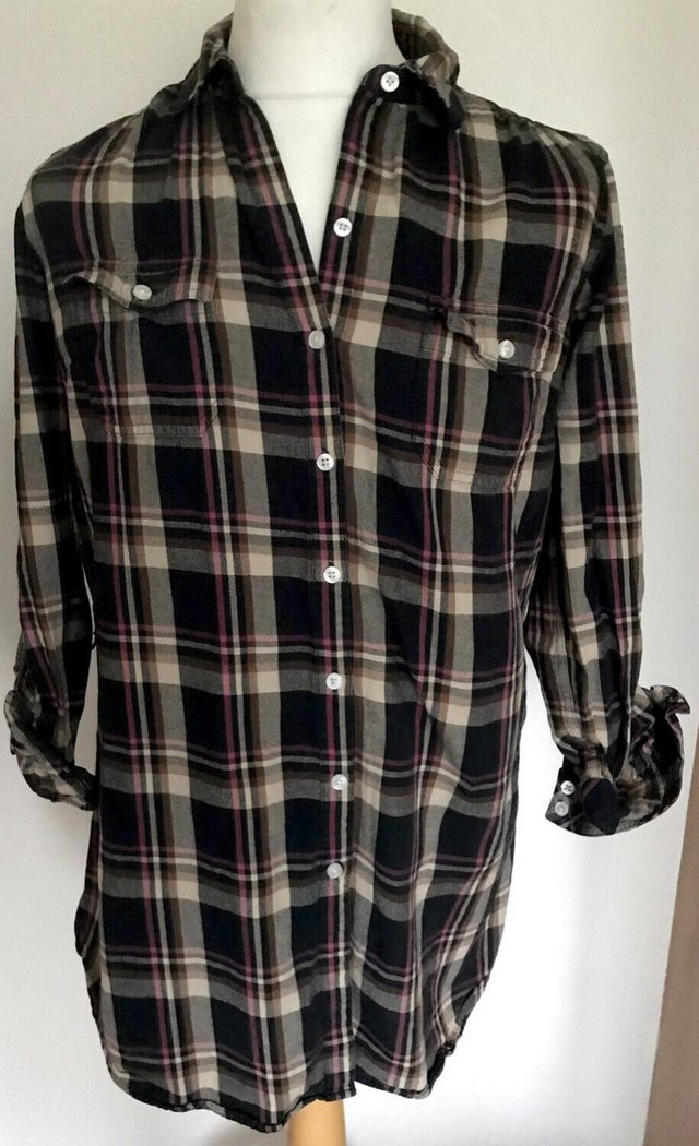 Image 2 of Ladies Levi Strauss Long Cotton Flannel Shirt Size Large