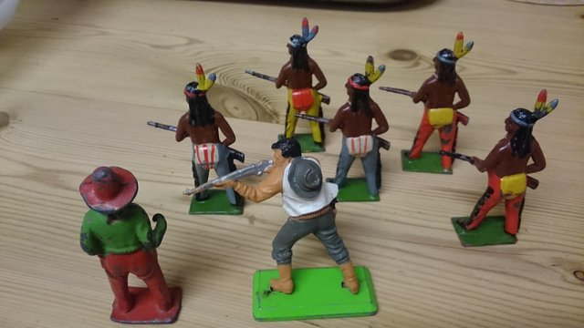 Preview of the first image of Antique & vintage lead & metal cowboy & Indian figures.