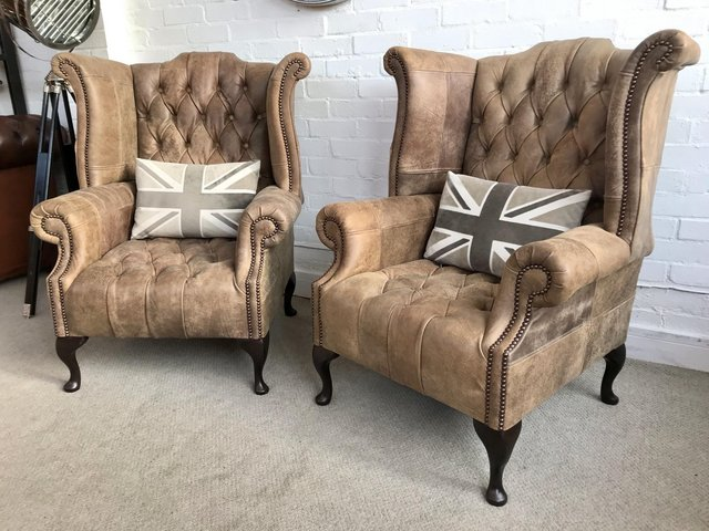 Image 3 of Tan Queen Anne wingback Chesterfield armchairs. Delivery.