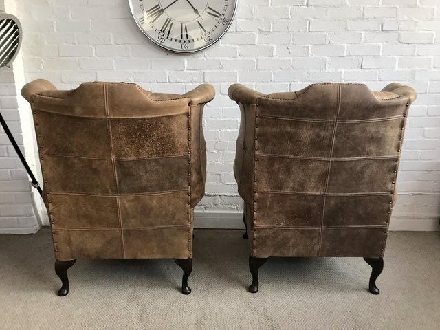 Image 5 of Tan Queen Anne wingback Chesterfield armchairs. Delivery.