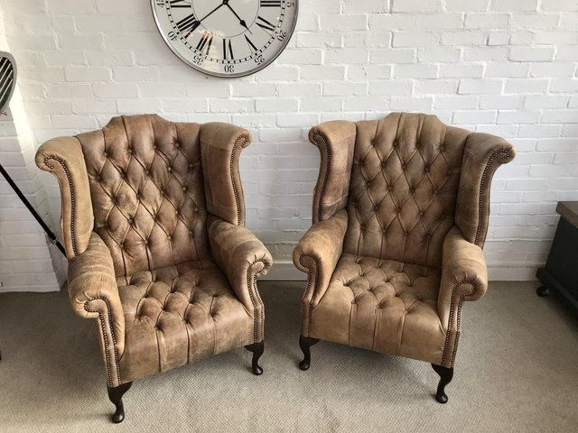 Image 6 of Tan Queen Anne wingback Chesterfield armchairs. Delivery.