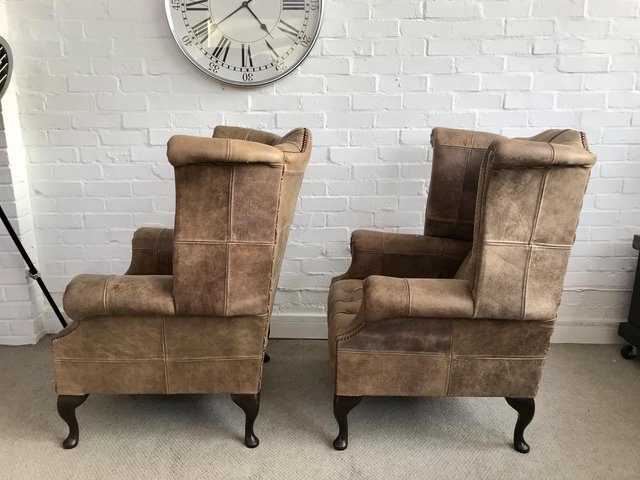 Image 7 of Tan Queen Anne wingback Chesterfield armchairs. Delivery.