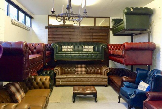 Image 9 of Tan Queen Anne wingback Chesterfield armchairs. Delivery.
