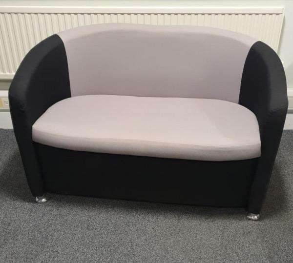 Preview of the first image of 2 Seater Tub Sofa, Black & Grey.