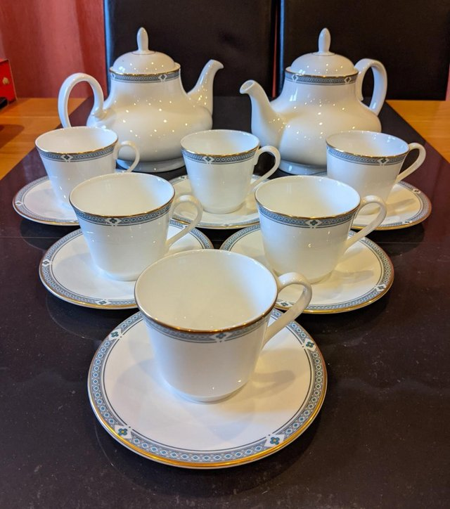 Preview of the first image of Felsham M&S teapots x2, tea cups & saucers x6, immaculate.
