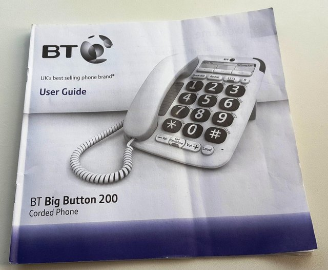 Image 5 of BT BIG BUTTON (200) CORDED PHONE with USER GUIDE