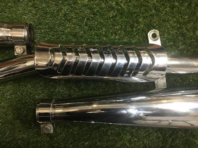 Image 2 of Triumph pre Unit High level exhaust pipes and megaphones