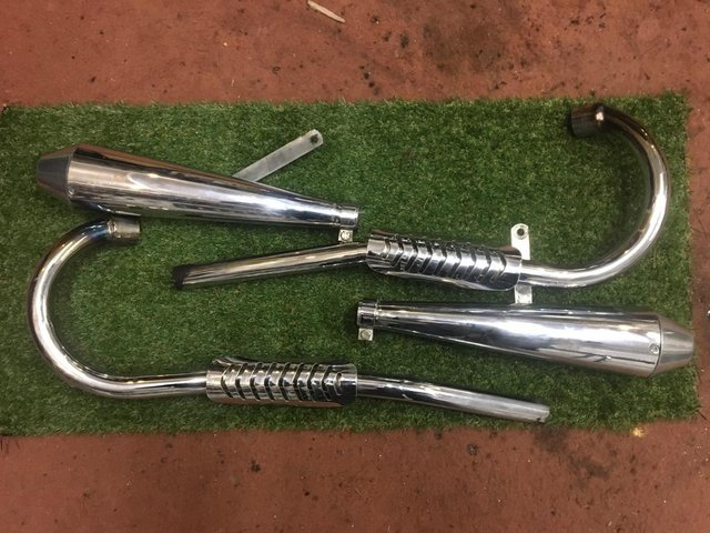 Image 3 of Triumph pre Unit High level exhaust pipes and megaphones