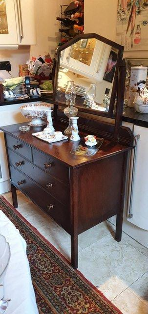 Image 9 of All Original, Circa 1920s - 40s, Solid Oak Dressing Table