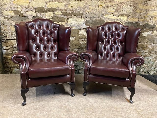 Preview of the first image of Pair of  Leather Wing backed Armchair Queen Anne.