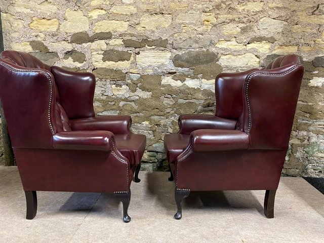 Image 2 of Pair of  Leather Wing backed Armchair Queen Anne