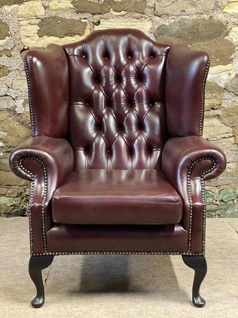 Image 3 of Pair of  Leather Wing backed Armchair Queen Anne