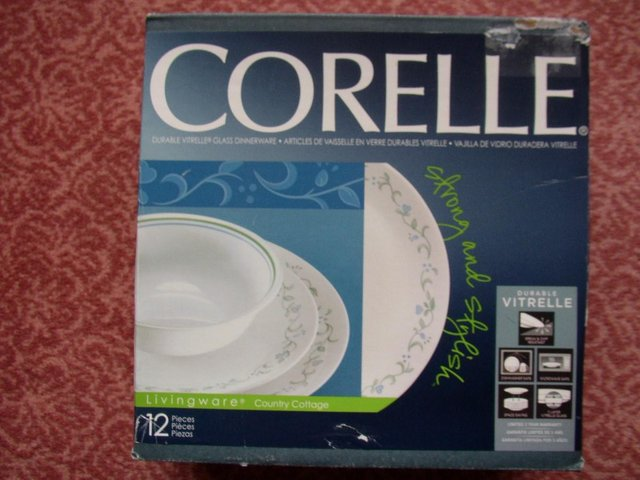 Preview of the first image of CORELLE 12 PIECE SET  VITRELLE GLASS DINNERWARE.