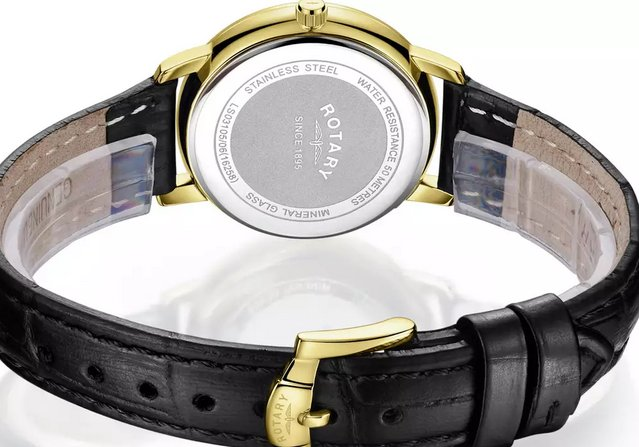 Preview of the first image of Rotary Ladies Watch Gold Face Black Leather Strap - New.