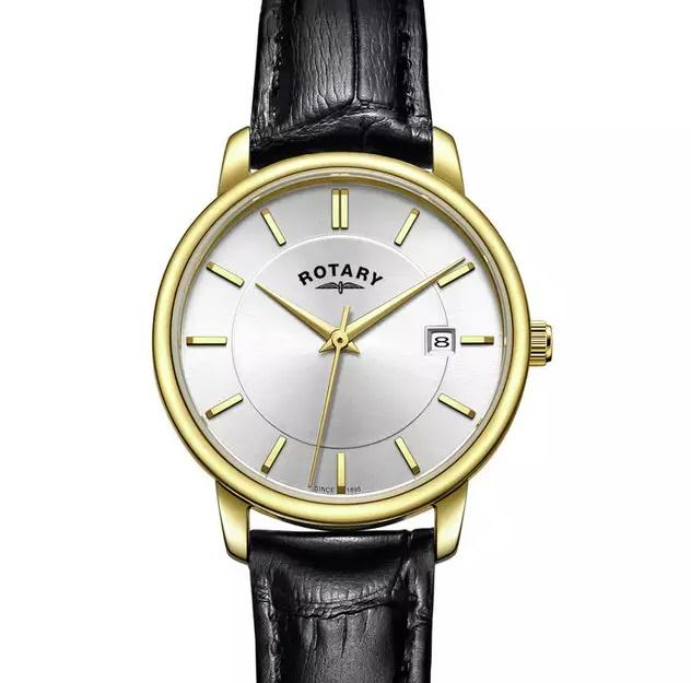 Image 2 of Rotary Ladies Watch Gold Face Black Leather Strap - New