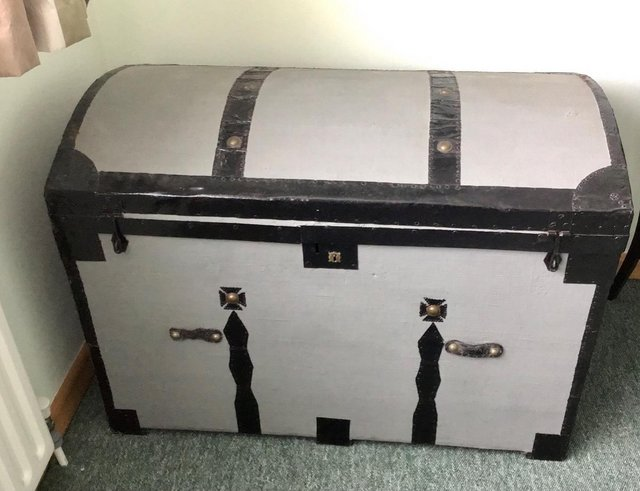 Preview of the first image of Antique Victorian domed top chest, trunk. Masses of storage!.