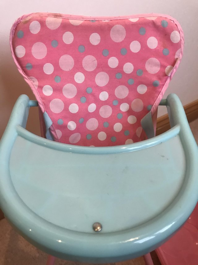 Image 2 of Kids baby doll bundle toys high chair carrier bath