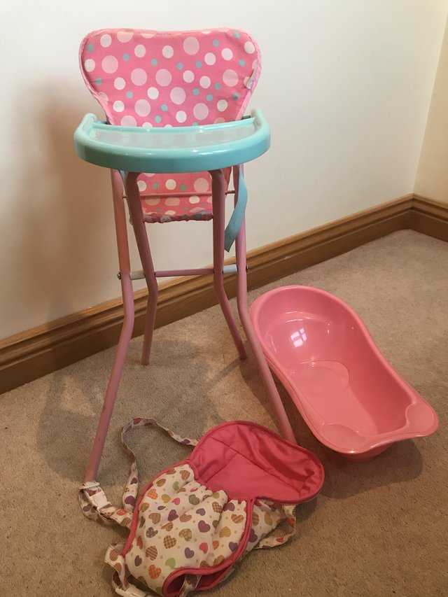 Preview of the first image of Kids baby doll bundle toys high chair carrier bath.