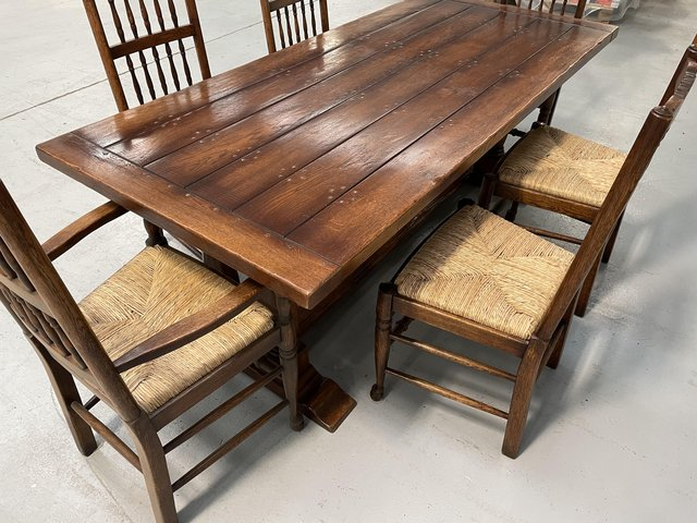 Image 3 of Oak Trestle Table, Chairs and Sideboard