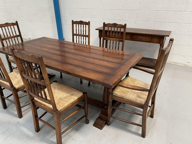 Image 4 of Oak Trestle Table, Chairs and Sideboard