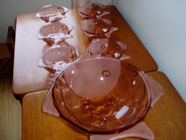 Preview of the first image of Art Deco Czechoslovakian Stolzle Vintage Pink Bowl Set.