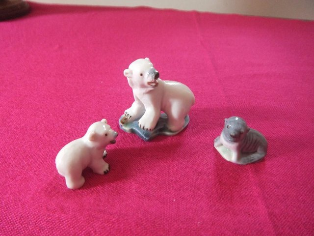 Preview of the first image of Vintage Wade Polar Bear & Cub anda Seal Ceramic Glazed Ornam.