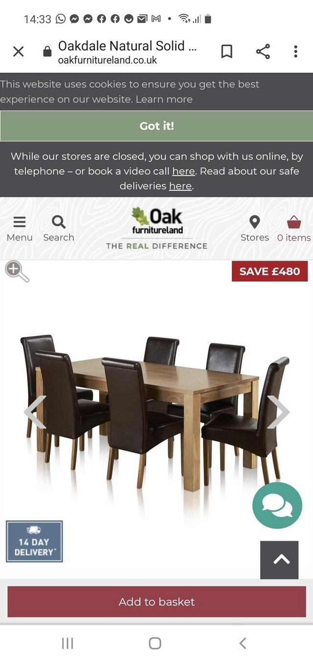 Preview of the first image of Large Oak dining table with 6 chairs.