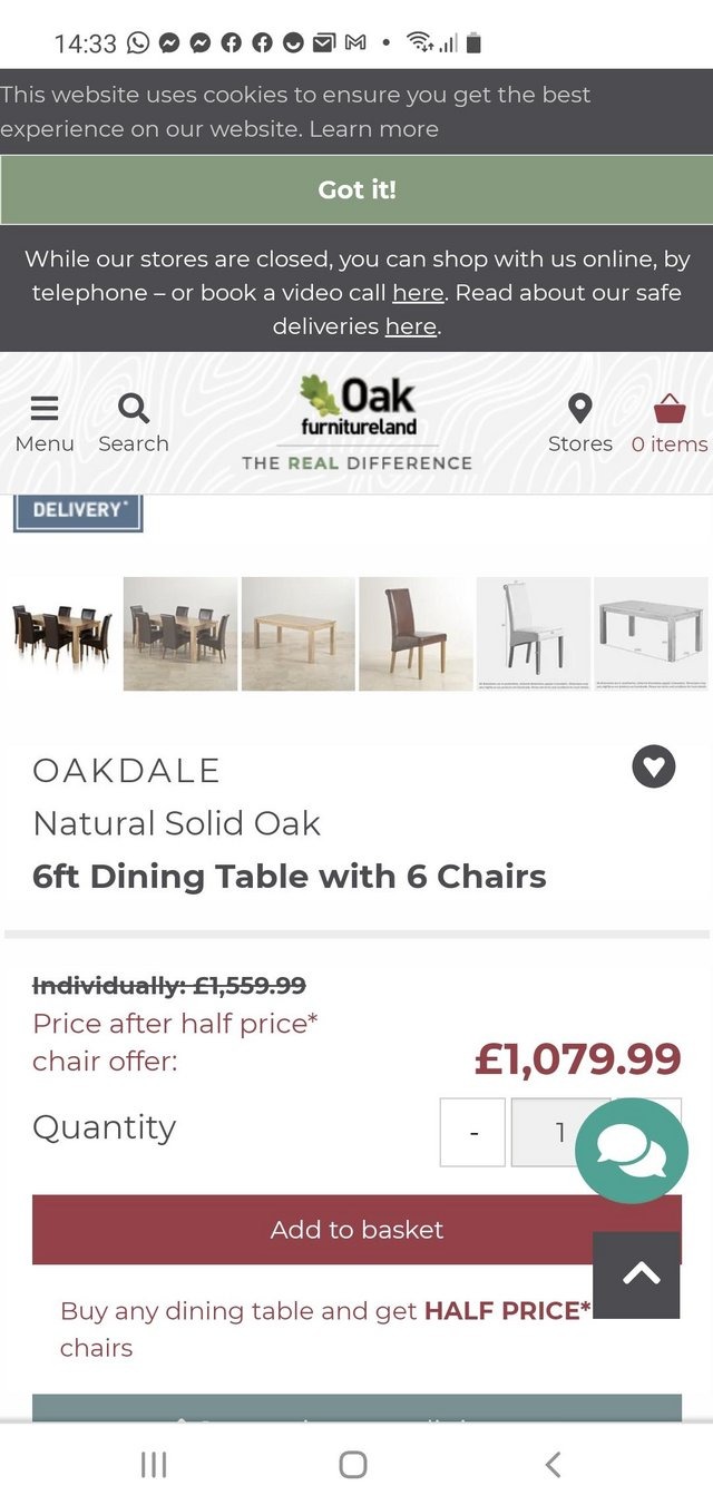 Image 2 of Large Oak dining table with 6 chairs