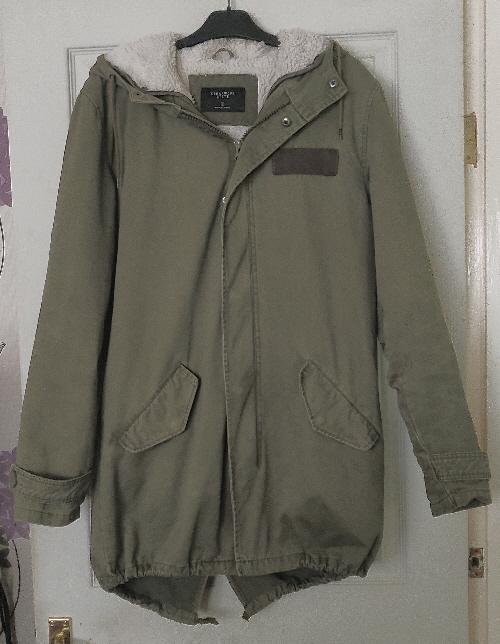 Preview of the first image of Ladies/Mens Khaki Fleece lined Parka - Size S.
