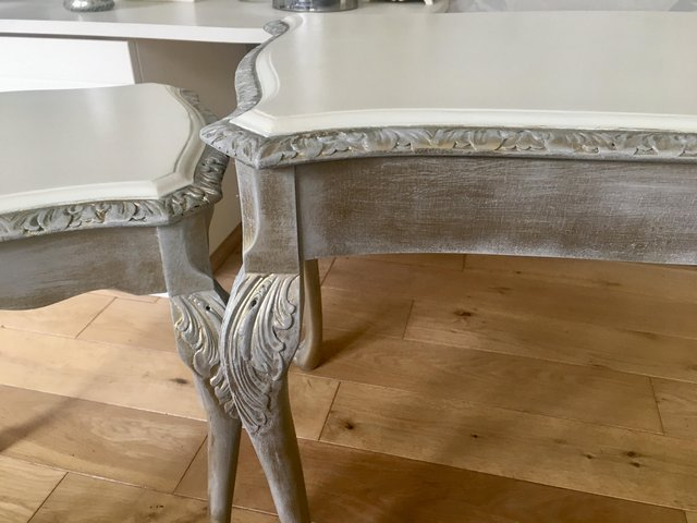 Image 10 of Vintage shabby chic/ venetian cream & gold nest of tables
