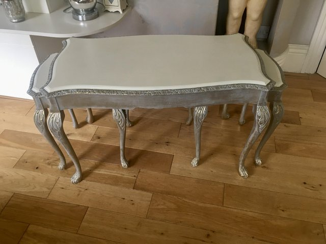 Image 11 of Vintage shabby chic/ venetian cream & gold nest of tables