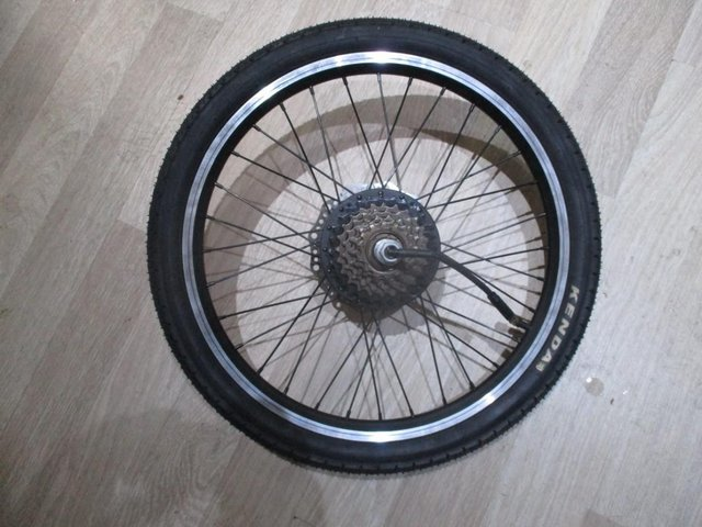 Preview of the first image of ebike back motor wheel. wheel and and tyre and gears.