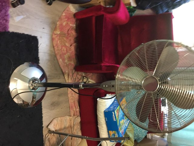 """Image 3 of 16"""" Chrome Pedestal Fan Freestanding Cool 3 Speed STAINLESS"""