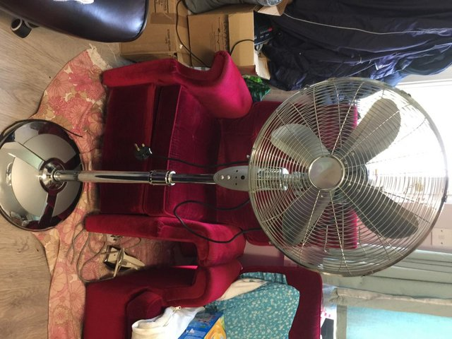 """Image 6 of 16"""" Chrome Pedestal Fan Freestanding Cool 3 Speed STAINLESS"""