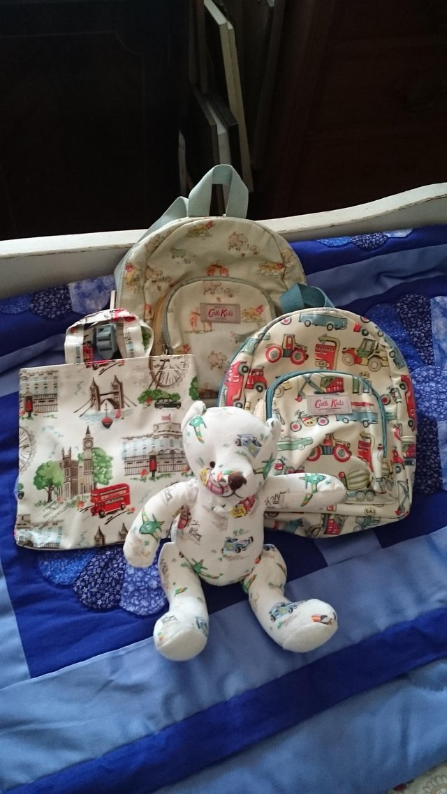 Preview of the first image of Cath kidston childrens bags and teddy.