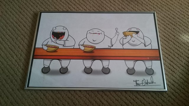 Preview of the first image of Oatmeal signed cartoon framed picture.