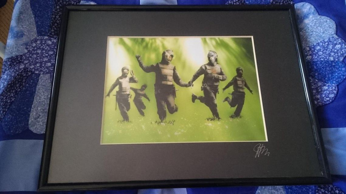 """Preview of the first image of Original """"banksy ' limited edition from hugh sun signed."""